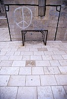 Football goal and peace symbol, Dubrovnik, Croatia
