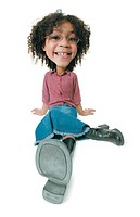 photo caricature of a young cute african american girl dressed in a jean skirt and red shirt as she sits and smiles