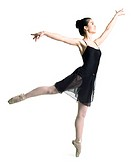 a female asian teenager in a black ballet outfit kicks up on her toe in a dance pose