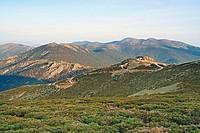 Siete Picos in Sierra de Guadarrama from Bola del Mundo peak. Madrid, Spain