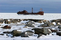 he wreck of the Ithica in ice on Hudson Bay just outside of Churchill, Manitoba, Canada