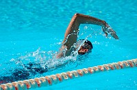 Female Swimmer Swimming Crawl