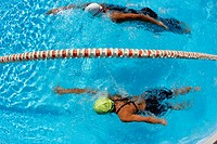 Two Female Swimmers Racing
