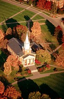 Aerial shot of Rooke Chapel at Bucknell University in Lewisberg, Pennsylvania