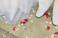 Confetti around feet of bride and groom