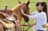 Couple stroking horse