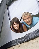 Couple inside tent
