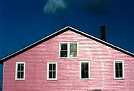 Pink house with 6 windows