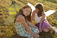 Two girls wearing butterfly wings (thumbnail)