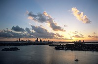 Miami skyline over Biscayne Bay, sunset, Miami, Florida, USA