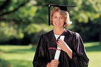 Woman in cap and gown.