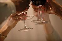 People raising wine glasses.