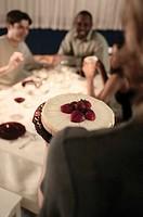 Dessert being served.