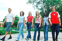 Group of Teenagers Walking in Park