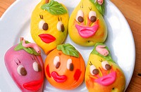 Marzipan in different shapes and colors