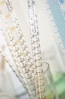 Close-up of an array of pipettes