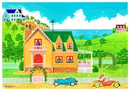 Illustration of House in Countryside with Cars in Front