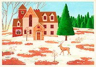 Illustration of House in Countryside with Deer in Front