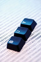 Close-up of computer keys on a document