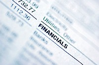 Close-up of a financial page