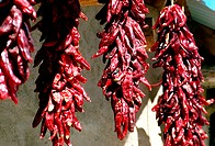 Closeup of hanging dried red peppers
