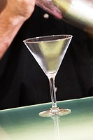 Close-up of an empty martini glass