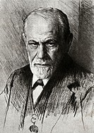 Sigmund Freud (1856-1939), Austrian psychologist. Freud established the idea that mental disorders could have psychological as well as physiological c...