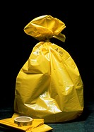 Radioactive waste disposal. Plastic bag used for disposing of low-level radioactive waste, such as those produced by medical applications. The bag is ...