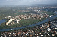 Aerial view of town with river, Main, Stockstadt, Mainaschaff, Hesse, Germany