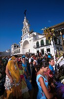 Crowd of people celebrating traditional festival, Pentecost Pilgrimage, El Rocie, Huelva, Andalusia, Spain