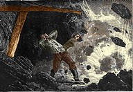 Coal mine explosion. 19th-century artwork of an explosion in a coal mine. This explosion has been caused by blasting powder, which was used to break u...