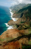Aerial view of Na Pali coast. Kauai island. Hawai
