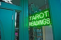 Tarot card readings sign in business window in Tampa Florida yebor city district of Tampa. USA.