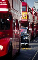 Double_decker buses on road, London, England
