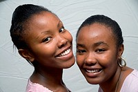 Portrait of girls smiling,