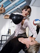 Female colleagues boxing