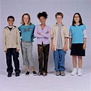 Group of teenagers (13-14) standing beside each other, portrait