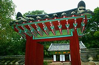 Gyeryongsan National Park, Gapsa Temple, Gapsa Pyochungwon, gate to the shrine with portraits of the Buddhist priest Seosan-daesa Hyujeong. Chungcheon...