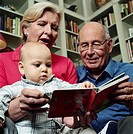 Senior couple reading to grandson (12-15 months), close-up