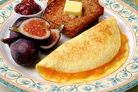 Breakfast plate with omelet close up