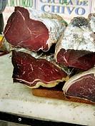 ´Cecina´ (dried meat) from León for sale. Fira Avícola Raça Prat, El Prat de Llobregat, Barcelona province, Catalonia, Spain