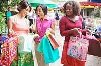 Young women on a shopping spree