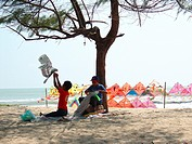 Kites at the beach, Pantai Irama, Bachok, Kelantan, Malaysia