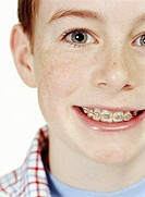 Boy (11-13) smiling, portrait, close-up