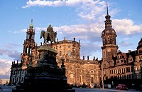The cathedral and Theaterplatz. Dresden. Sachsen. Germany.