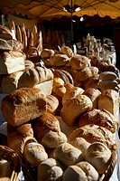 Bread stall in market