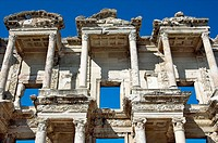 The exterior front facade of the Celsus library building in Ephesus, Turkey