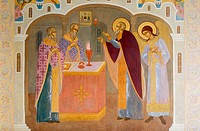 Frescoes, Troitse-Sergiyeva Lavra (Trinity Sergius Lauvra Monastery), Sergiyev Posad, The Golden Ring, Russia