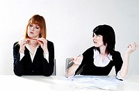 Businesswoman getting frustrated with her colleague for not doing her work