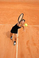Bird's Eye View of Female Tennis Player